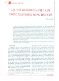 Lợi thế so sánh của Việt Nam trong xuất khẩu hàng tinh chế