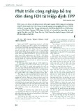 Phát triển công nghiệp hỗ trợ đón dòng FDI từ hiệp định TPP