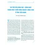 Vai trò của khoa học - công nghệ trong phát triển nông nghiệp, nông thôn ở tỉnh Tiền Giang