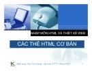 Bài giảng Nhập môn HTML và thiết kế Web: Bài 2 - Các thẻ HTML cơ bản