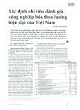 Xác định chỉ tiêu đánh giá công nghiệp hóa theo hướng hiện đại của Việt Nam
