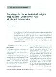 Tác động của các xu thế kinh tế thế giới thập kỷ 2011 - 2020 tới Việt Nam và các gợi ý chính sách