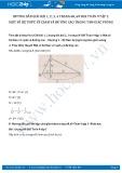 Giải bài tập Một số hệ thức về cạnh và đường cao trong tam giác vuông SGK Toán 9 tập 1