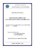Tóm tắt Luận án Tiến sĩ Luật học: Quyền được thông tin của công dân ở Việt Nam hiện nay