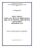 Luận văn Thạc sĩ Quản lý giáo dục: Thực trạng công tác quản lý thiết bị dạy học ở các trường THPT huyện Trảng Bom tỉnh Đồng Nai