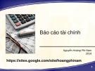 Bài giảng Báo cáo tài chính - Nguyễn Hoàng Phi Nam