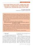 Giải pháp nâng cao chất lượng học liệu các môn lý luận chính trị theo tín chỉ trong các trường đại học ở Việt Nam