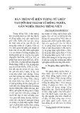 Bàn thêm về hiện tượng từ ghép tạo bởi hai thành tố đồng nghĩa, gần nghĩa trong tiếng Việt