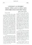 Cách đáp lại lời khen trong tiếng Anh và tiếng Việt: Bình diện phân tích hội thoại