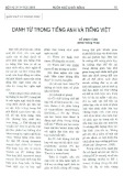 Danh từ trong tiếng Anh và tiếng Việt