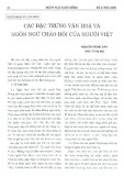 Các đặc trưng văn hóa và ngôn ngữ chào hỏi của người Việt