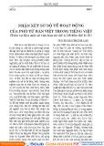Nhận xét sơ bộ về hoạt động của phó từ Hán việt trong tiếng Việt (Trên tư liệu một số văn bản từ thế kỉ 18 đến thế kỉ 21)