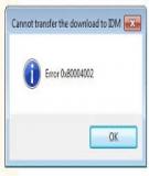 Cách sửa lỗi Error 0x80004002 của phần mềm IDM trên Win 7