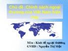 Chủ đề: Chính sách ngoại thương của Việt Nam hiện nay