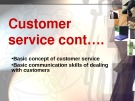 Lecturte Logistics management - Chapter: Customer service