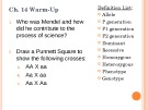 Lecture AP Biology - Chapter 14: Mendel and the gene idea