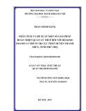 Luận văn Thạc sĩ Kỹ thuật: Phân tích và đề xuất một số giải pháp hoàn thiện quản lý thuế đối với hộ kinh doanh cá thể ở Chi cục Thuế huyện Thanh Thủy, tỉnh Phú Thọ