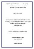 Tóm tắt luận văn Thạc sĩ Quản lý công: Quản lý nhà nước về phát triển nguồn nhân lực giáo viên trung học cơ sở huyện Thanh Sơn, tỉnh Phú Thọ