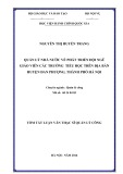 Tóm tắt luận văn Thạc sĩ Quản lý công: Quản lý nhà nước về phát triển đội ngũ giáo viên các trường tiểu học trên địa bàn huyện Đan Phượng, thành phố Hà Nội