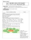 Giáo án tiếng Anh lớp 9 chương trình thí điểm - Unit 7: Recipes and eating habits