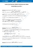Bài tập phương trình và hệ phương trình Toán nâng cao 9