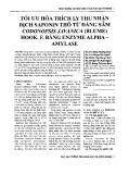 Tối ưu hóa trích ly thu nhận dịch Saponin thô từ Đảng sâm Codonopsis Javanica (Blume) Hook.F. bằng Enzyme Alpha - Amylase