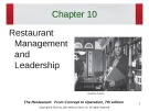 Lecture The restaurant:  From concept to operation (7th edition): Chapter 10 - Walker