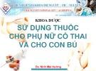 Bài giảng Sử dụng thuốc cho phụ nữ có thai và cho con bú