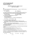 Đề kiểm tra HK 1 môn Vật lí lớp 12 năm 2016 - THPT Hoà Bình