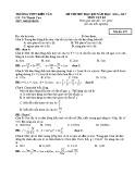 Đề thi thử HK 1 môn Vật lí lớp 12 năm 2016 - THPT Kiến Văn - Mã đề 357