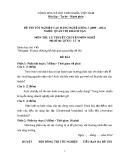 Đề thi tốt nghiệp cao đẳng nghề khoá 3 nghề Quản trị khách sạn môn Lý thuyết nghề - Mã đề thi: QTKS - LT14