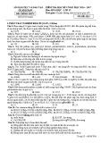 Đề thi HK 1 môn Hoá học lớp 12 năm 2017 - Sở GD&ĐT Quảng Nam - Mã đề H14