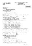 Đề kiểm tra HK2 môn Sinh học lớp 10 năm 2017 - THPT Phạm Văn Đồng - Mã đề 493