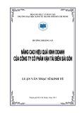 Luận văn thạc sĩ kinh tế: Nâng cao hiệu quả kinh doanh của Công ty Cổ phần Vận tải biển Sài Gòn