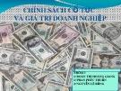 Bài thuyết trình: Chính sách cổ tức và giá trị doanh nghiệp (nhóm 3)
