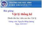 Bài giảng Vật lý thống kê: Chương 4 - Nguyễn Hồng Quảng