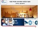 Bài giảng An ninh khách sạn (Hotel Security) - Chương 1: Tổng quan về quản trị an ninh khách sạn