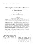 Implementing corporate social responsibility towards sustainable development: A case study of smes in Thanh Hoa province