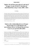 Nghiên cứu mối liên quan giữa sốt xuất huyết Dengue và một số yếu tố vi khí hậu tại tỉnh Khánh Hòa trong 11 năm (2004-2014)