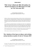 Thực trạng vi phạm quy định cấm quảng cáo, khuyến mại thuốc lá tại địa điểm bán lẻ ở 6 tỉnh tại Việt Nam năm 2015