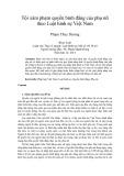 Tóm tắt Luận văn Thạc sĩ Luật học: Tội xâm phạm quyền bình đẳng của phụ nữ theo Luật hình sự Việt Nam