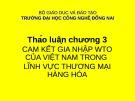 Bài giảng Thảo luận Chương 3: Cam kết gia nhập WTO của Việt Nam trong lĩnh vực thương mại hàng hóa