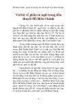 Vài lời về phần từ ngữ trong tiểu thuyết Hồ Biểu Chánh