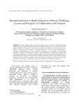 Internationalization in Higher Education in Russia: Challenges, Lessons and Prospects of Collaboration with Vietnam