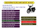 Bài giảng Bảo dưỡng và sửa chữa mô tô - Xe máy
