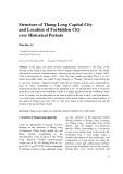 Structure of Thang Long capital city and location of forbidden city over historical periods