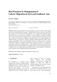 Best practices in management of labour migration in East and southeast Asia