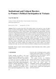 Institutional and cultural barriers to women's political participation in Vietnam