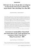Đánh giá việc duy trì hộ gia đình và trường học an toàn tại hai xã Dạ Trạch và Đồng Tiến, huyện Khoái Châu, tỉnh Hưng Yên, năm 2009