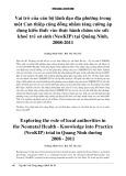 Vai trò của cán bộ lãnh đạo địa phương trong một Can thiệp cộng đồng nhằm tăng cường áp dụng kiến thức vào thực hành chăm sóc sức khoẻ trẻ sơ sinh (NeoKIP) tại Quảng Ninh, 2008-2011
